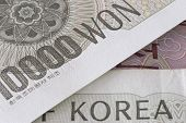 pic of won  - Korean Won 10000 bill detail overlapping banknote - JPG