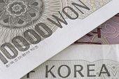 pic of won  - Korean Won 10000 bill detail overlapping banknote - JPG