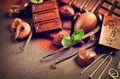 stock photo of vanilla  - Chocolates background - JPG