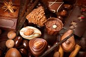 picture of milk  - Chocolates background - JPG