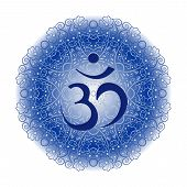image of ohm  - symbol Om on the lacy blue background - JPG