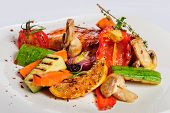 stock photo of chicken  - Grilled chicken fillet and vegetables - JPG