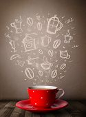 pic of steamy  - Coffee mug with hand drawn kitchen accessories - JPG