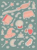 pic of witchcraft  - Witchcraft sticker set with other magic objects - JPG