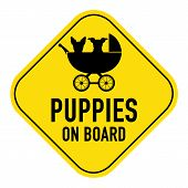 image of baby dog  - dogs silhouette illustration inside baby stroller on yellow placard signshowing the words puppies on board isolated on white background - JPG