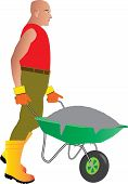 stock photo of wheelbarrow  - A Construction Site Worker pushing a wheelbarrow full of cement - JPG