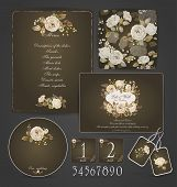 picture of letterhead  - Invitation card letterhead numbering for tables and different elements. Watercolor flowers on  dark brown background. Vintage design. - JPG