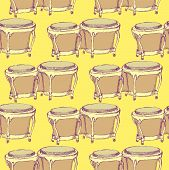 picture of bongo  - Sketch bongos musical instrument in vintage style vector seamless pattern - JPG