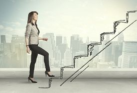 image of stairway  - Business woman climbing up on hand drawn staircase concept on city background - JPG