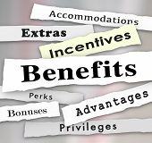 stock photo of newspaper  - Benefits Incentives Bonuses Extras Perks and Advantages newspaper headlines to illustrate updates on important priveleges or accommodations of a job or opportunity - JPG