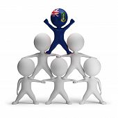 stock photo of human pyramid  - 3d small people standing on each other in the form of a pyramid with the top leader British Virgin Islands - JPG