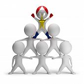 stock photo of human pyramid  - 3d small people standing on each other in the form of a pyramid with the top leader Saba - JPG