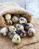 picture of quail  - Quail eggs in burlap sack on a wooden table background - JPG