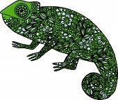 image of chameleon  - Hand drawn doodle outline chameleon illustration decorated with ornaments - JPG