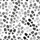 foto of grayscale  - grayscale human shoes footprint various sole seamless pattern eps10 - JPG