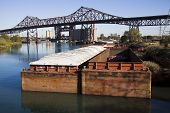 stock photo of skyway bridge  - Barges in Chicago  - JPG