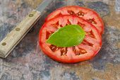pic of basil leaves  - Close up view of single large basil leaf focus on leaf resting on top of a freshly sliced tomato with knife - JPG