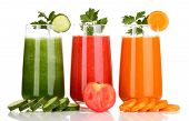 ������, ������: Three glasses of juice in a row