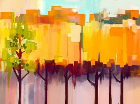 stock photo of canvas  - Abstract colorful oil painting landscape on canvas - JPG
