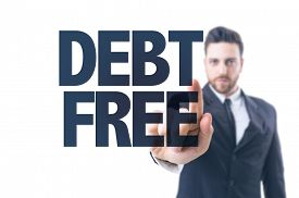 stock photo of debt free  - Business man pointing the text - JPG