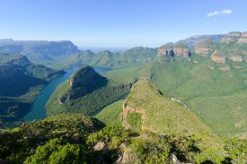 pic of three sisters  - Blyde River Canyon and The Three Rondavels (Three Sisters) in Mpumalanga South Africa. The Blyde River Canyon is the third largest canyon worldwide ** Note: Soft Focus at 100%, best at smaller sizes - JPG
