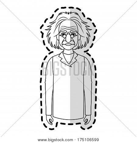 poster of albert einstein icon image sticker vector illustration design