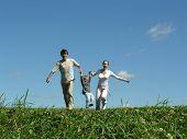Running Family Sunny Day poster