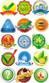 Certified organic label or sticker for products - graphic illustration. Set of design element, vecto