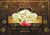 Abstract Classical congratulation card with glossy red hearts and roses. Vector frame background wit