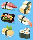 Illustration of different traditional Japanese food icons, including sushi, sashimi. Seafood set, ve