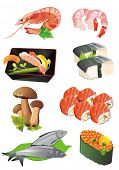 Illustration of different traditional Japanese Seafood icons, including sushi, sashimi, prawn, mushr