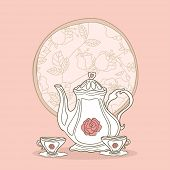 stock photo of tea party  - romantic tea set - JPG