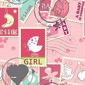 seamless pattern with baby girl postage stamps