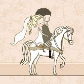 wedding couple on white horse