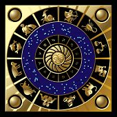 image of horoscope signs  - Raster version of vector gold circle with the signs and the constellations of the zodiac  - JPG