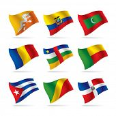 Isolated raster version of vector set of world flags 7 (contain the Clipping Path of all objects)