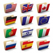 Set 1 of folders icons with world flags. Isolated raster version (contain the Clipping Path of all o