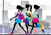 stock photo of cartoon people  - Vector illustration with three shopping girls - JPG