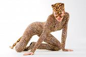 Hot beautiful model in latex leopardess costume