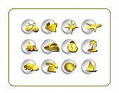 Travel Icon Set: Gold-Silver poster