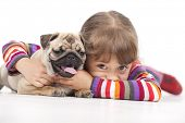 stock photo of cute dog  - Little girl and the Pug - JPG