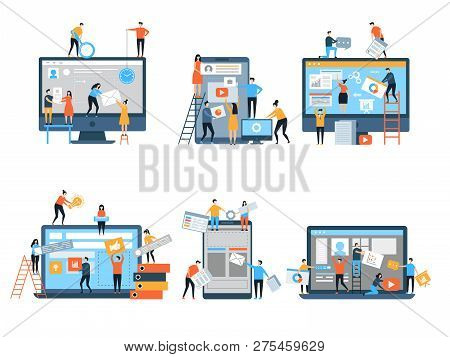 poster of Making Site. Web Pages Under Construction Seo Optimization Marketing Simple People Group Business Te