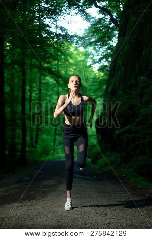 poster of Run To Success. Sport And Sportswear Fashion. Sport Success. Fitness Woman With Good Athlete Body. F