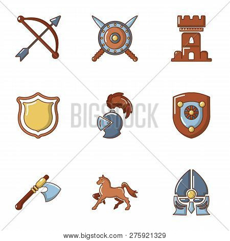 Knightly Tournament Icons Set Cartoon