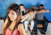 pic of foursome  - Three young men fight over a pretty teenaged girl - JPG