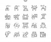 Office Workers Well-crafted Pixel Perfect Vector Thin Line Icons 30 2x Grid For Web Graphics And App poster