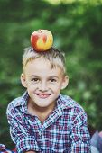 Boy With Apple In The Apple Orchard. Beautiful Girl Eating Organic Apple In The Orchard. Harvest Con poster