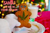 Bad Acid Trip. Santa Claus is having a bad Acid Trip. Gingerbread Man Cookie threatens Santa. Bad Co poster
