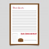 Christmas Letter Cookies And Milk. Santa Letter. Christmas Letter. Letter For Santa. Christmas Card. poster