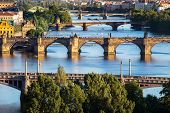 Charles Bridge, Landmark For People Or Tourist Who Want To Travel, And Layer Of Bridge Over The Rive poster